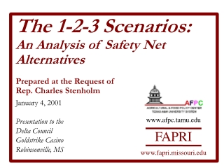 The 1-2-3 Scenarios: An Analysis of Safety Net Alternatives Prepared at the Request of