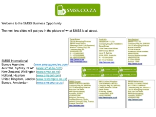 Welcome to the SMSS Business Opportunity