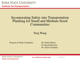 Incorporating Safety into Transportation Planning for Small and Medium-Sized Communities