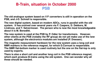 B-Train, situation in October 2000 PSB