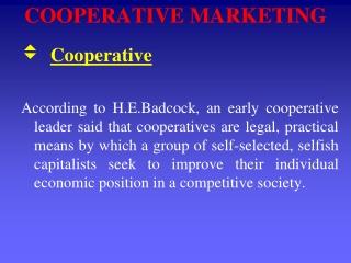 COOPERATIVE MARKETING