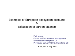 Examples of European ecosystem accounts & calculation of carbon balance