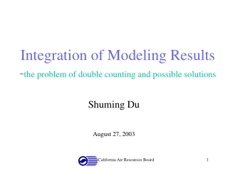 Integration of Modeling Results - the problem of double counting and possible solutions