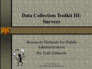 Data Collection Toolkit III:  Surveys