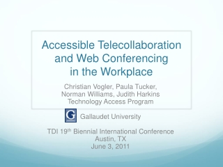 Accessible  Telecollaboration  and Web Conferencing  in the Workplace