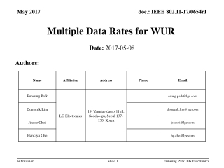 Multiple Data Rates for WUR
