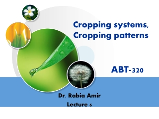 Cropping systems,     Cropping patterns                 ABT-320