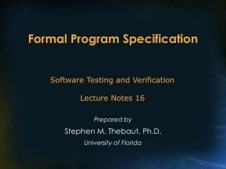 Formal Program Specification
