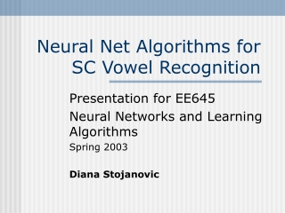 Neural Net Algorithms for SC Vowel Recognition