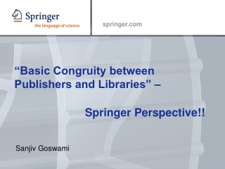 """""""Basic Congruity between Publishers and Libraries"""" –"""