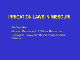 IRRIGATION LAWS IN MISSOURI