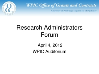 Research Administrators Forum