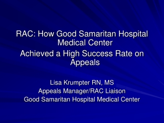 RAC: How Good Samaritan Hospital Medical Center Achieved a High Success Rate on Appeals