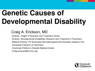 Genetic Causes of Developmental Disability