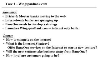 Case 1 – WingspanBank