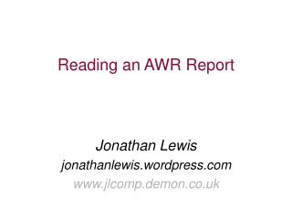 Reading an AWR Report