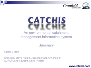 An environmental catchment management information system Summary