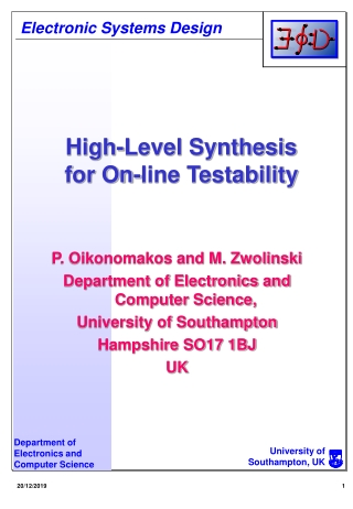 High-Level Synthesis for On-line Testability