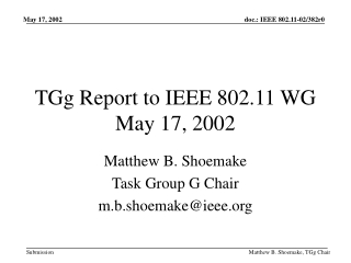 TGg Report to IEEE 802.11 WG May 17, 2002