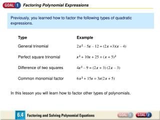Factoring Polynomial Expressions