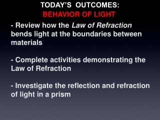 - Review how the  Law of Refraction  bends light at the boundaries between materials