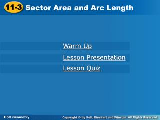 Sector Area and Arc Length