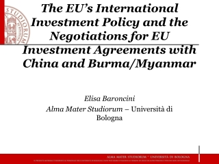 Elisa Baroncini Alma Mater Studiorum  – Università di Bologna