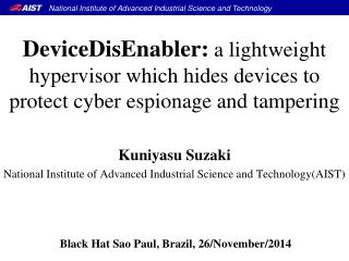 Kuniyasu Suzaki National Institute of Advanced Industrial Science and Technology(AIST)