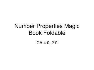 Number Properties Magic Book Foldable