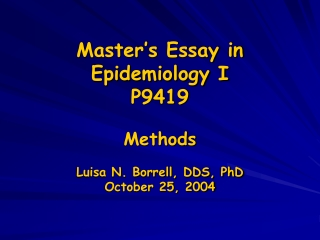Master's Essay in Epidemiology I P9419