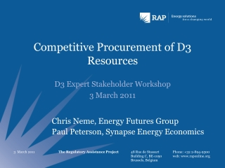 Competitive Procurement of D3 Resources