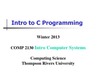 Intro to C Programming
