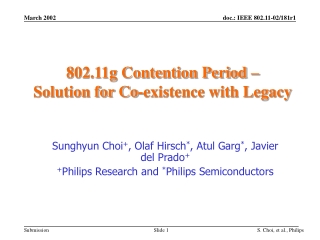802.11g Contention Period –  Solution for Co-existence with Legacy