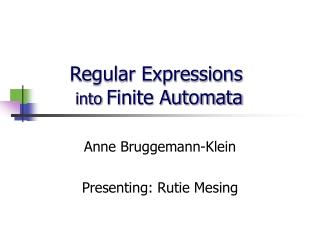 Regular Expressions  into Finite Automata