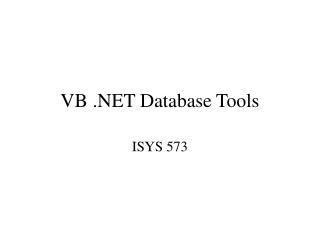 VB .NET Database Tools