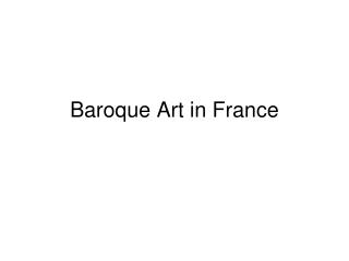 Baroque Art in France