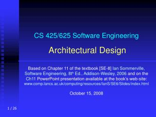 CS 425/625 Software Engineering Architectural Design