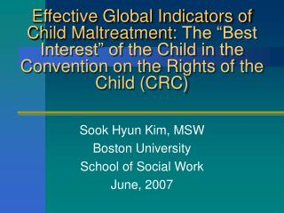 "Effective Global Indicators of Child Maltreatment : The ""Best Interest"" of the Child in the Convention on the Rights"