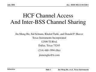 HCF Channel Access And Inter-BSS Channel Sharing