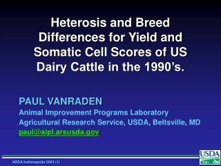PAUL VANRADEN Animal Improvement Programs Laboratory