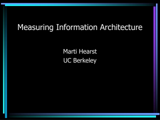 Measuring Information Architecture