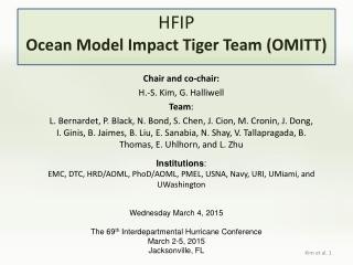 HFIP Ocean Model Impact Tiger Team (OMITT)