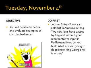 Tuesday, November 4 th
