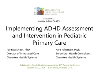 Implementing ADHD Assessment and Intervention in Pediatric Primary Care