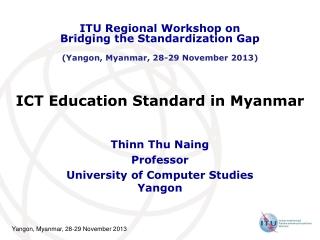 ICT Education Standard in Myanmar