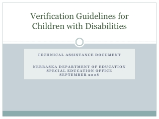 Verification Guidelines for Children with Disabilities