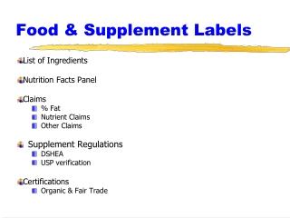 Food & Supplement Labels