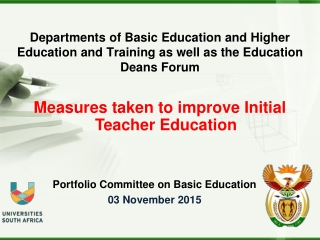 Portfolio Committee on Basic Education 03 November 2015