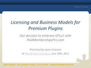 Licensing and Business Models for Premium Plugins
