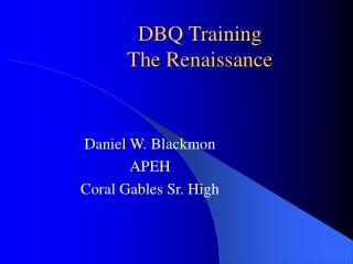 DBQ Training The Renaissance